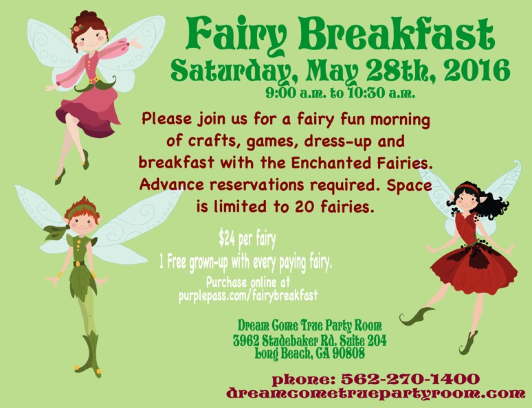 Fairy Breakfast May 28th updated